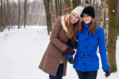 I love my sister even when it's cold Royalty Free Stock Image