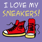 I love my sneakers. Sneakers with inscription. Hand drawn vector illustration stock illustration