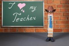 I love my Teacher, funny education concept. With Book installation as a schoolman stock photos