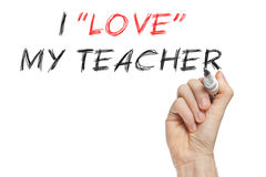 I love my teacher. Ironic written on whiteboard Royalty Free Stock Image