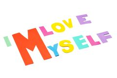 I love myself - white background. Stock Photos