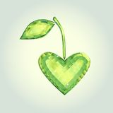 I love nature 1. Cristal emblem in shape of emerald heart Stock Image