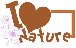 I love nature label in green isolated Royalty Free Stock Images