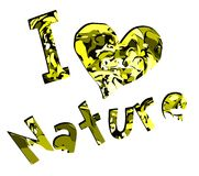 I love nature label in green isolated Stock Photo