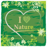 I Love Nature Text + Heart and Flower Border Royalty Free Stock Photo