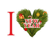 I love new year. Symbol heart of FIR branches and decorations. M. Int sweets and gifts for new year. Christmas tree branches and holiday decoration Vector Illustration