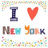 I love New York. Cute postcard. Greeting card from New York Stock Photography
