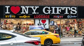 I love New York gifts. New York City, United States - November 17 2018: The Frontage of the I Love New York Gift shop on Broadway stock photography
