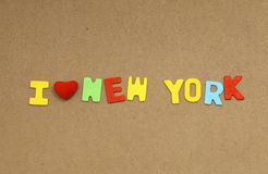 I love new york. Inscription lined letters on the board stock photos