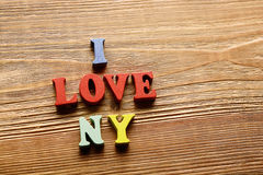 I Love New York   letters   on   wood Royalty Free Stock Photos