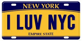 I Love New York License Plate. Empire State NYC city motto logo art car vector illustration
