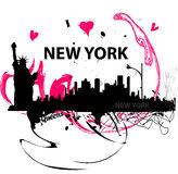 I love New York poster. Artistic I love New York poster with silhouettes of New York skyline and Statue of Liberty Royalty Free Stock Photo