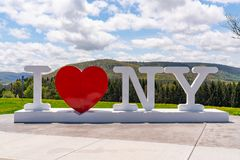 I Love New York Sculpture. CORBETTSVILLE, NY - MAY 14, 2018: I Love NY sign at the New York Southern Tier Welcome Center stock photos