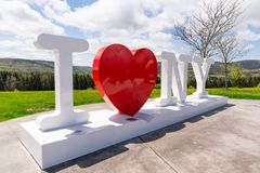 I Love New York Sculpture. CORBETTSVILLE, NY - MAY 14, 2018: I Love NY sign at the New York Southern Tier Welcome Center stock image