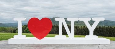 I Love New York Sign. CORBETTSVILLE, NY - MAY 16, 2018: I Love NY sign at the New York Southern Tier Welcome Center stock image
