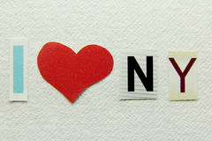 I love new york sign. On handmade paper stock photos