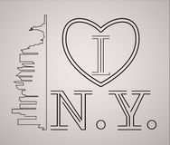 I love New York  skyline and landmarks silhouette, black and white design, vector illustration. New York with heart logo Royalty Free Stock Photography