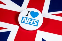 I Love the NHS. LONDON, UK - APRIL 27TH 2018: An I Love the NHS badge over the UK flag, on 27th April 2018.  The The National Health Service was established in Royalty Free Stock Photo