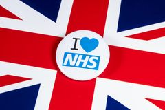 I Love the NHS. LONDON, UK - APRIL 27TH 2018: An I Love the NHS badge over the UK flag, on 27th April 2018.  The The National Health Service was established in Stock Images