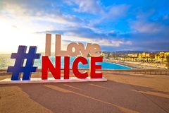 I love Nice tourist sign above Promenade des Anglais in city Of Nice. Nice, France, January 17, 2019: I love Nice tourist sign above Promenade des Anglais in royalty free stock photos