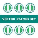 I Love Nigeria vector stamps set. Stock Image