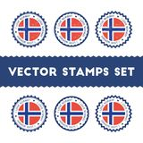 I Love Norway vector stamps set. Retro patriotic country flag badges. National flags vintage round signs Royalty Free Stock Photography
