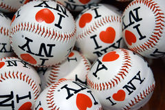 I Love NY basballs. I love NY baseballs for sale in tourist store in New York City royalty free stock image