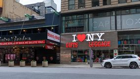 I LOVE NY, gifts and luggage store located near Times Square in Manhattan. New York, USA - May 6, 2018 : I LOVE NY, gifts and luggage store located near Times royalty free stock image