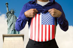 I love NY. Man traveling to new york and displays lebantandose shirt with the flag of USA royalty free stock photography