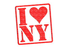 I LOVE NY Rubber Stamp. Over a white background royalty free stock image