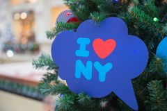 I love NY. Sign on a xmas tree in shopping mall stock photos