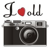 I love old photo. Old black photo apparatus with signs i love old Royalty Free Stock Photos