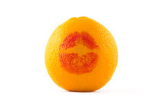 I love orange!. Orange fruit with print of kiss isolated on white Stock Photos