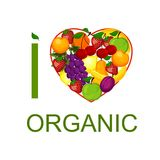 I love organic food an illustration. Royalty Free Stock Photo