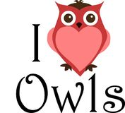 I love owls sign stock image