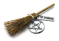 I love Pagans. A witch broom displayed with pentacle and sign that states, I love Pagans Royalty Free Stock Image