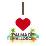 I love Palma de Mallorca. Travel. Palm, summer, lounge chair. Vector flat illustration. Royalty Free Stock Photos
