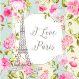 I love Paris card. I love Paris invitation card. Eiffel tower and spring flowers pattern. Tulip bouquet over tile background. Vector illustration Royalty Free Stock Image