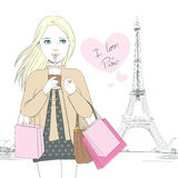 I Love Paris Girl Stock Photo