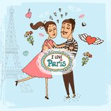 I Love Paris hand-drawn illustration Royalty Free Stock Photography