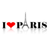 I Love Paris Silhouette. I love Paris heart with eiffel tower silhouette and reflection royalty free illustration