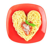 I love Pasta / Spaghetti isolated on white Stock Photos