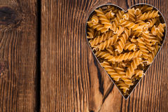 I Love Pasta (Wholemeal Fussili). I Love Pasta concept (Wholemeal Fussili) with copyspace Royalty Free Stock Photo
