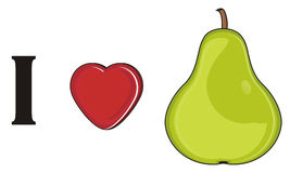 I love pear. Green pear with red heart and letter i Royalty Free Stock Image