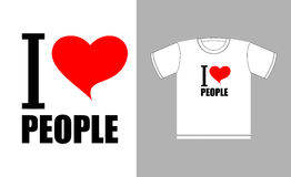 I love people. Love heart symbol. Sign for t-shirts good man Stock Photography