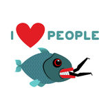 I love people. predator fish eats man. Wild sea Shark and male. Stock Images