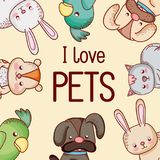 I love pets. Cute cartoons vector illustration graphic design vector illustration