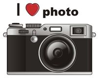 I love photo. Old black photo apparatus with inscription i love photo Royalty Free Stock Images