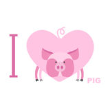 I love pig. Symbol of  heart of a pig. Vector illustration for l Stock Photo