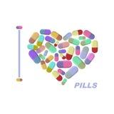 I love pills. Heart symbol of medicine. Vector illustration medi Royalty Free Stock Photography